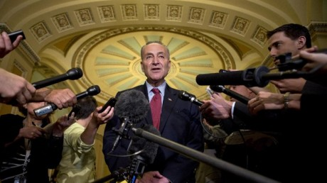 Sen. Charles Schumer, D-N.Y. speaks to the media. (AP Photo/Jacquelyn Martin)