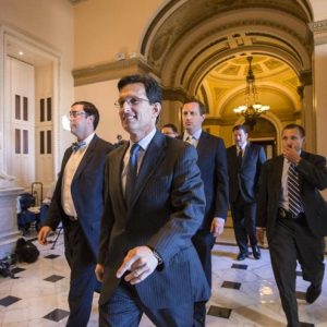 House Majority Leader Eric Cantor (R-VA) smiles as he leaves the House floor on Friday. (AP Photo/Scott Applewhite)