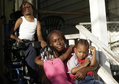 Patricia Jones with children in Newark, NJ (AP)