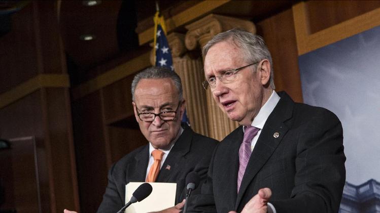 Senate Majority Leader Harry Reid of Nevada and Sen. Chuck Schumer, D-N.Y.  The fight goes on  (AP Photo/Scott Applewhite)