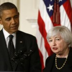 President Barack Obama listens as Janet Yellen, vice chair of the Board of Governors of the Federal Reserve System, speaks. (AP Photo/Charles Dharapak)