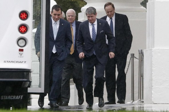 Republican Senators leave White House after meeting with President (AP/Charles Dharapak)