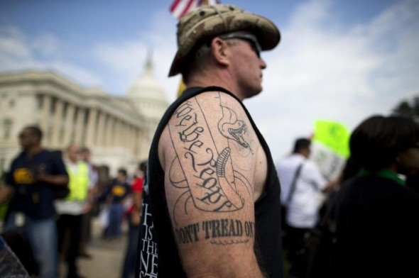 Greg Cummings of Cincinnati, a typical tea party extremist, in Washington. (AP/Evan Vucco)