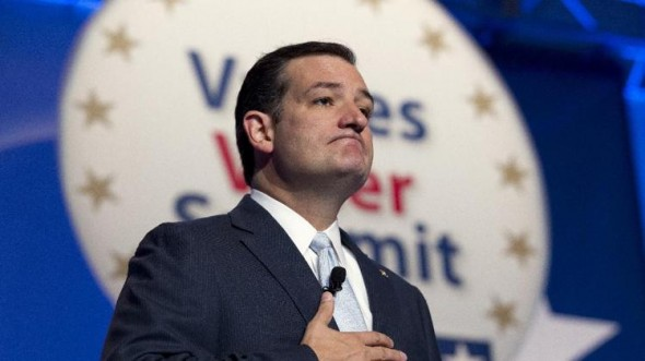 Sen. Ted Cruz R-Texas pauses while speaking at the Values Voter Summit. (AP Photo/Jose Luis Magana)