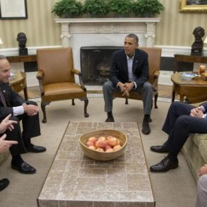 Sen. Dick Durbin, D-Ill., Sen. Charles Schumer, D-N.Y., President Barack Obama, Senate Majority Leader Harry Reid of Nev., Sen. Patty Murray, D-Wash., meet in the Oval Office of the White House.  (AP Photo/Carolyn Kaster)