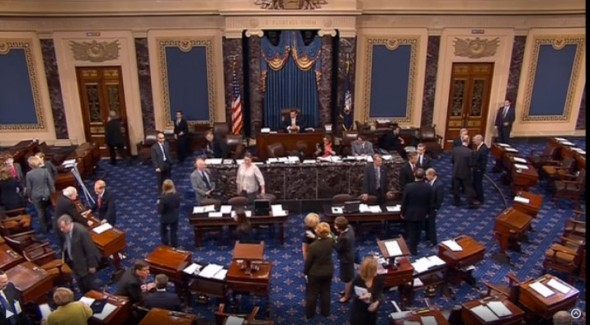 Floor of the Senate during vote.