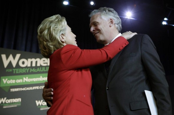 Hillary Clinton campaigning with Virginia governor candidate Terry McAuliffe. (Reuters/Yuri Gripas)