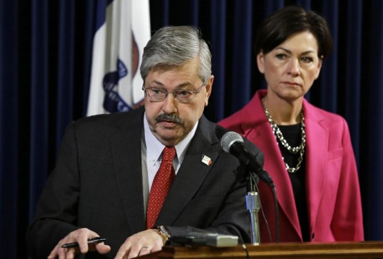 Iowa Gov. Terry Brandstad and Lt. Gov. Tim Reynolds. Can he take GOP back from the rabid right wing? (AP/Charlies Neibergall)