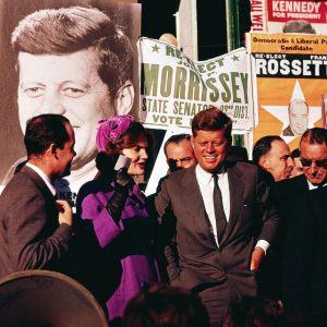 Democratic Presidential candidate John F. Kennedy campaigns in New York with his wife, Jacqueline in October 1960. (AP)