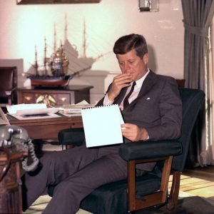 President John F. Kennedy in the Oval Office on January 18, 1962. (AP/Henry Burroughs)