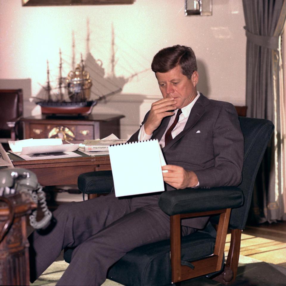 President John F. Kennedy in the Oval Office on January 18, 1962. (AP/Henry Burroughs)