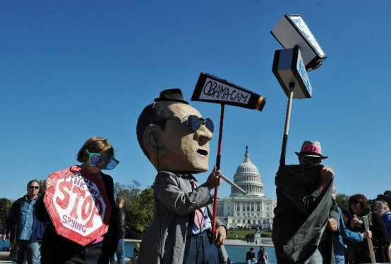Demonstrators against NSA spying (AFP/Nandell Ngan)