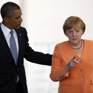 President Barack Obama and German Chancellor Angela Merkel. (AP/Michael Sohn)