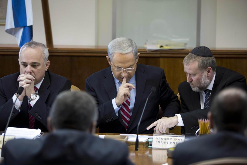 Israel Prime Minister Benjamin Netanyahu meets with his cabinet. (AP/Abir Sultan}