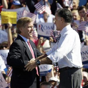 Virginia Gov. Bob McDonnell campaigning with Mitt Romney in better days. (AP/Steve Helber)