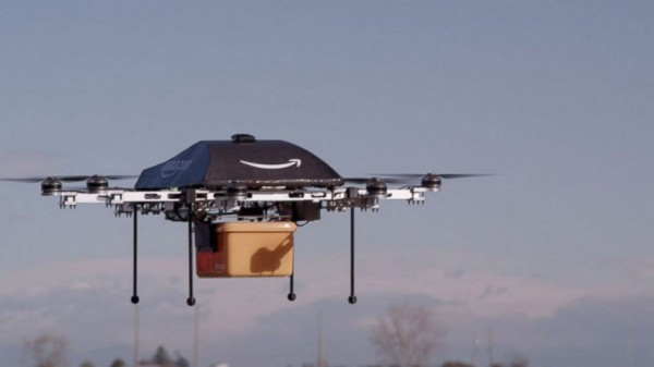 A test of an Amazon delivery drone.