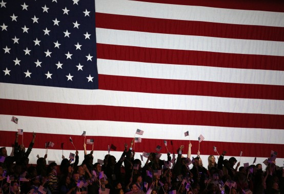 President Barack Obama's 2012 election night rally in Chicago.(Reuters/Philip Andrews)