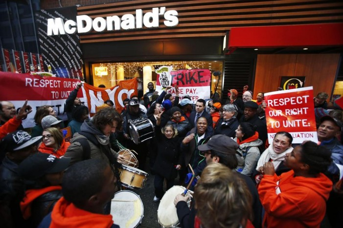 Fast-food strikers walk out again over low pay