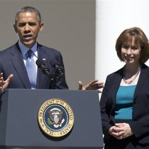 President Barack Obama and nominee Patricia Ann Millett for the U.S. Court of Appeals  (AP Photo/Manuel Balce Ceneta)