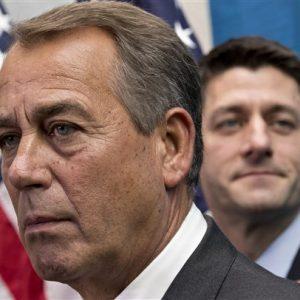House Speaker John Boehner of Ohio, left,  joined by House Budget Committee Chairman Rep. Paul Ryan, R-Wis. (AP Photo/J. Scott Applewhite)