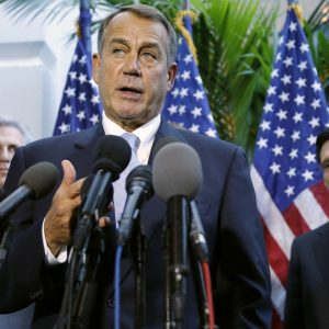 House Speaker John Boehner (R-Ohio) (C) is flanked by House Majority Whip Rep. Kevin McCarthy (R-Calif.) (L) and Majority Leader Rep. Eric Cantor (R-Va.) as he speaks to reporters at the U.S. Capitol in Washington. (REUTERS/Jonathan Ernst)