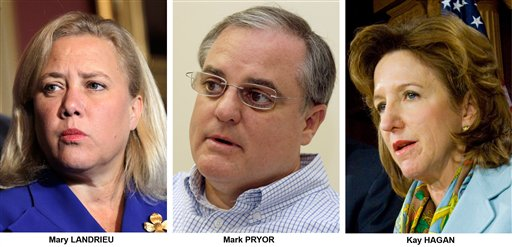 Mary Landrieu, D-La., Mark Pryor, D-Ark., and Kay Hagan, D-N.C.  (AP Photos)