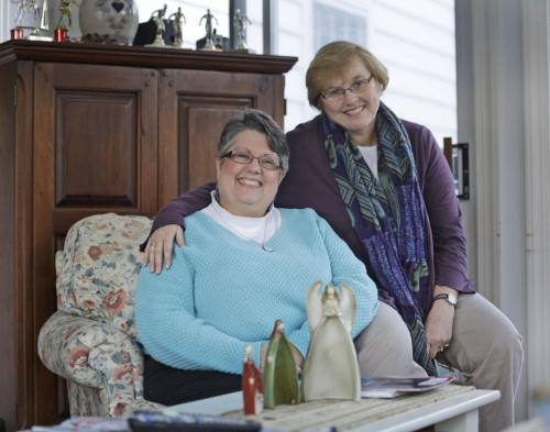 Carol Schall (left) and her partner, Mary Townley, married in California in 2008.  They now live in Richmond, VA. (AP/Steve Helbar)