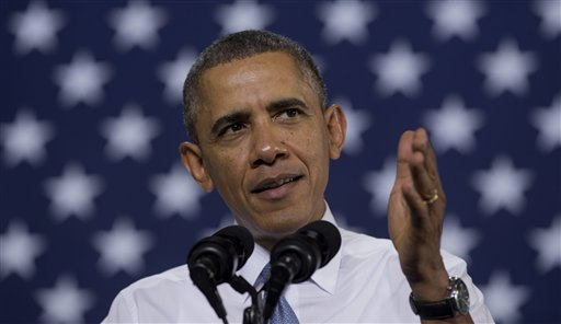 President Barack Obama speaks at General Electric's Waukesha Gas Engines facility Thursday in Waukesha, Wis. (AP Photo)