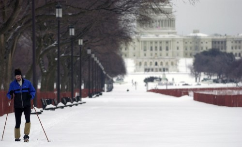 A skier makes his way on the Washington Mall after a substantial snowfall shut down the government several years ago. (Capitol Hill Blue photo by Doug Thompson)