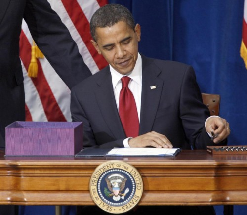 President Barack Obama signing the economic stimulus bill in 2009.  (AP Photo/David Zalubowski, File)