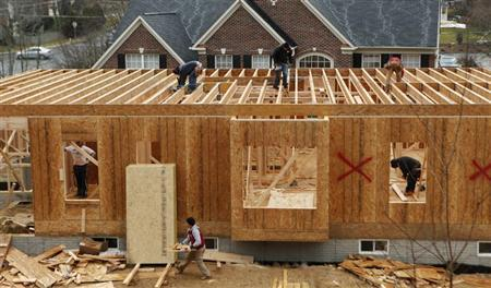 Workers build a new house in Alexandria, Virginia.  (REUTERS/Kevin Lamarque)