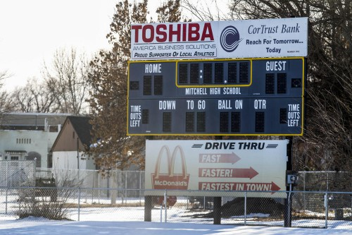 The Mitchell High School scoreboard at Joe Quintal field in Mitchell, South Dakota.  (Sean Ryan/The Daily Republic)