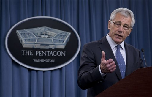 Defense Secretary Chuck Hagel briefs reporters at the Pentagon, Monday. (AP Photo/Carolyn Kaster)