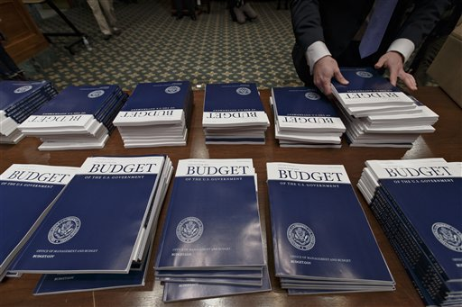 Copies of President Barack Obama's proposed fiscal 2015 budget. (AP Photo/J. Scott Applewhite)
