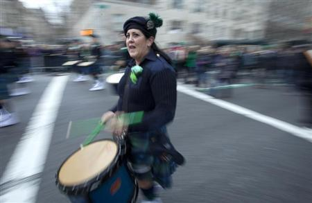 A drummer plays during the 2013 St. Patrick's Day Parade in New York.  (REUTERS/Carlo Allegri)