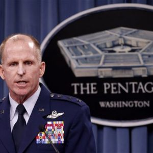 Air Force Global Strike Command (AFGSC) Commander Lt. Gen. Stephen Wilson speaks to reporters at the Pentagon, Thursday, . (AP Photo/Charles Dharapak)