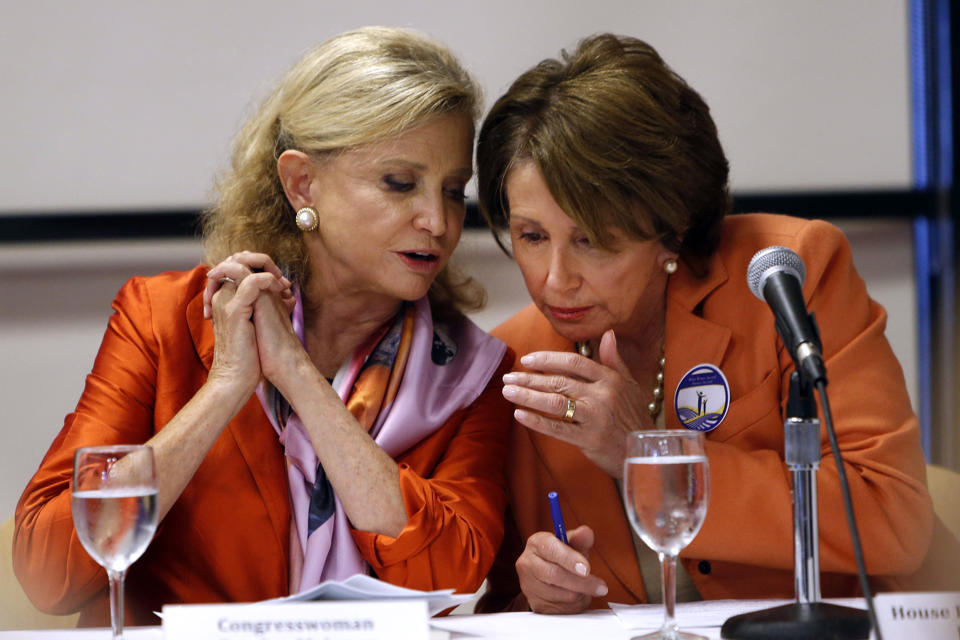 Rep. Carolyn Maloney, D-N.Y., left, talks withHouse Minority Leader Nancy Pelosi of Calif.  (AP Photo/Jason DeCrow, File)