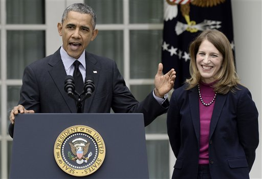 President Barack Obama, stands Friday with his nominee to become Health and Human Services secretary, Budget Director Sylvia Mathews Burwell. (AP Photo/Susan Walsh)