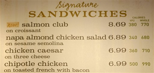 The sandwich board at a Panera store with the calorie count for each item, in Brookline, Mass.  (AP Photo/Charles Krupa)
