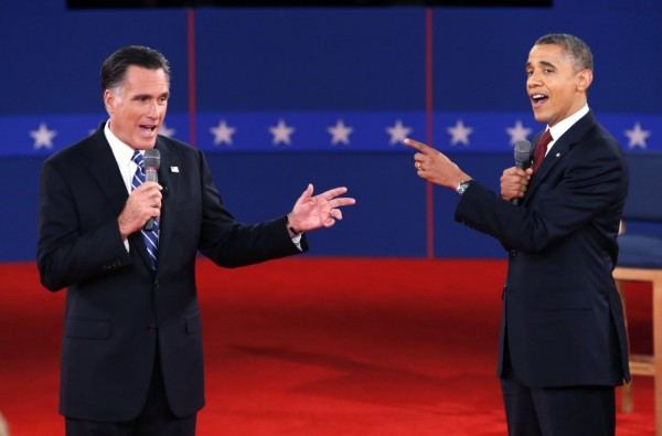 Mitt Romney and Barack Obama in second presidential debate in 2012. Are they lying? Of course they are. Their lips are moving. (REUTERS/Mike Segar)