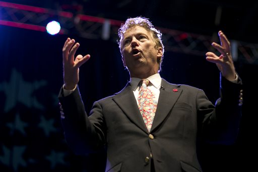 Sen. Rand Paul, R-Kentucky, speaks at the Maine Republican Convention, Saturday. (AP Photo/Robert F. Bukaty)