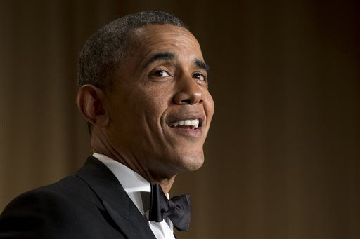 President Barack Obama speaks during the White House Correspondents' Association (WHCA) Dinner.  (AP Photo/Jacquelyn Martin)