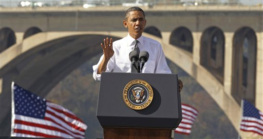 President Barack Obama speaks in front of the Key Bridge in Washington.  (AP Photo/Pablo Martinez Monsivais, File)