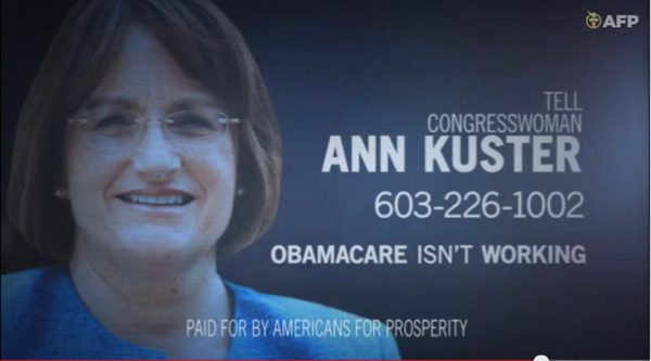 Americans for Prosperity, shows a political ad against Rep. Ann McLane Kuster, D-N.H. (AP Photo/Americans for Prosperity)