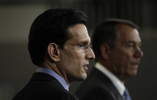 House Speaker John Boehner of Ohio and Republican Majority Leader Eric Cantor of Va  (AP Photo/Charles Dharapak)