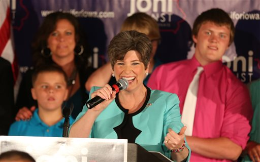 Joni Ernst at victory celebration in Iowa  (AP Photo/The Des Moines Register, Charlie Litchfield)