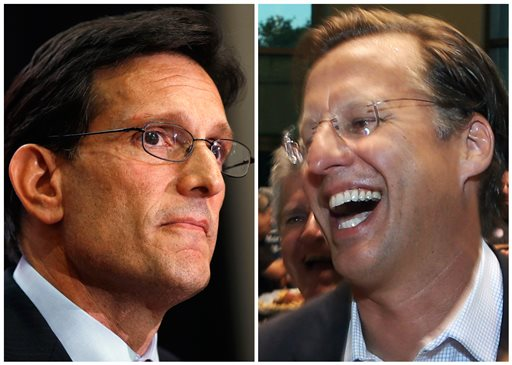 In this combination of House Majority Leader Eric Cantor, R-Va., left, and Dave Brat.  (AP Photo)