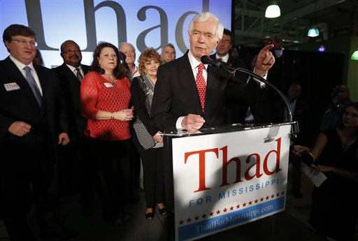 Sen. Thad Cochran, R-Miss., addresses supporters  (AP Photo/Rogelio V. Solis)