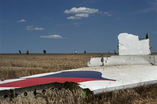 A piece of the crashed Malaysia Airlines Flight 17 lies in the grass (AP Photo/Evgeniy Maloletka)