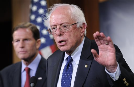 FILE - In this July 24, 2014, file photo, Sen. Bernie Sanders, I-Vt., right, with Sen. Richard Blumenthal, D-Conn. (AP Photo)